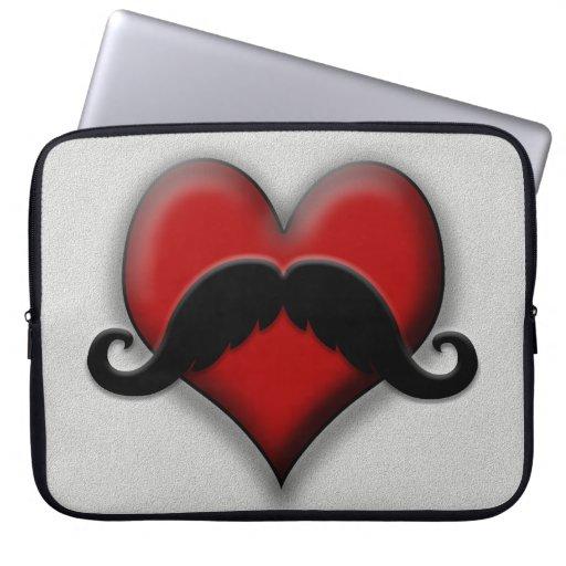 Corazón del rojo del bigote mangas computadora