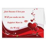 Corazón del rojo del día de San Valentín Felicitacion