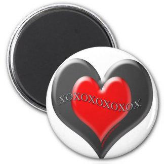 Corazón del rojo del el día de San Valentín Imán Redondo 5 Cm