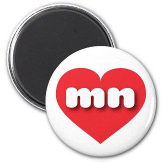 Corazón del rojo del manganeso de Minnesota Imán De Nevera