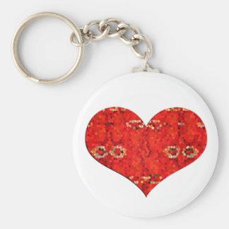 corazón del rojo del mosiac llavero personalizado