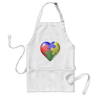 Corazón del rompecabezas de 4 colores delantal