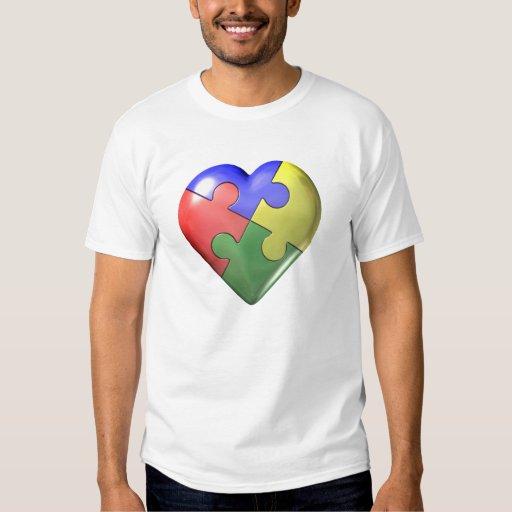 Corazón del rompecabezas de 4 colores poleras