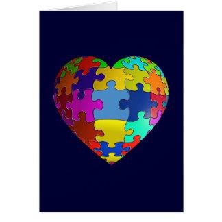 Corazón del rompecabezas de la conciencia del tarjeta de felicitación