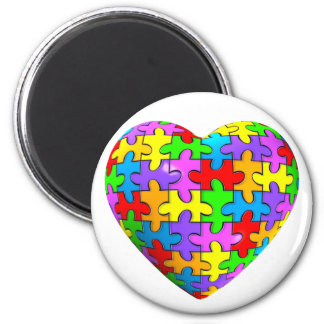 Corazón del rompecabezas del autismo imán redondo 5 cm