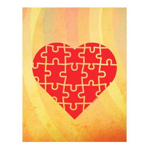 Corazón del rompecabezas membretes personalizados