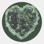 Corazón del rosa blanco etiquetas redondas