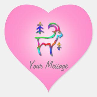 Corazón del rosa de la cabra del arco iris de la pegatina en forma de corazón