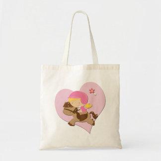 Corazón del rosa de la equitación del amor bolsa tela barata
