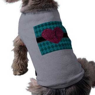 Corazón del rosa del argyle de la turquesa del camiseta sin mangas para perro