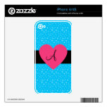 Corazón del rosa del monograma de las estrellas az skins para iPhone 4