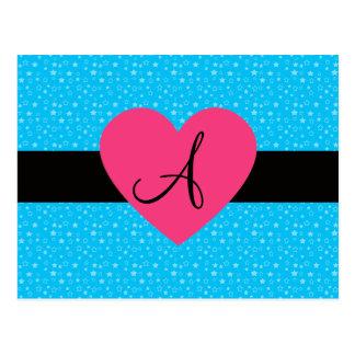 Corazón del rosa del monograma de las estrellas postal