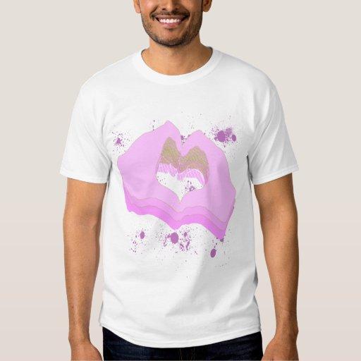 Corazón del rosa I usted da las camisetas Poleras