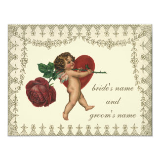Corazón del rosa rojo del Cupid de la tarjeta del Invitación Personalizada