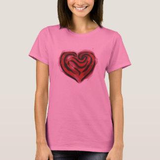 corazón del rosa rojo playera