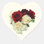 Corazón del rosa rojo y blanco calcomanías corazones