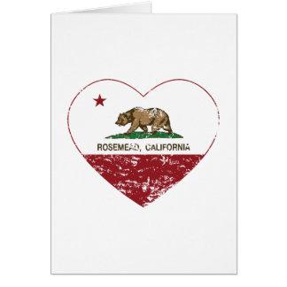 corazón del rosemead de la bandera de California a Tarjeta De Felicitación