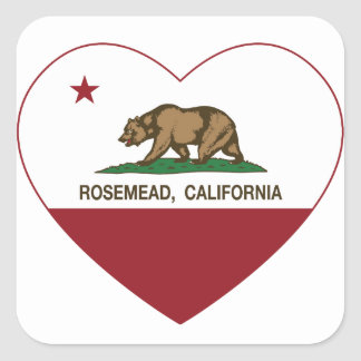 corazón del rosemead de la bandera de California Pegatina Cuadrada