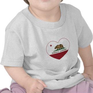 corazón del roseville de la bandera de California Camisetas