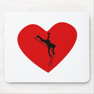 Corazón del saltador de poste tapete de ratón