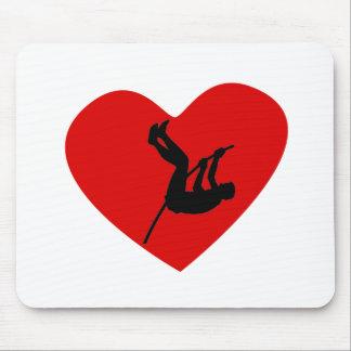 Corazón del saltador de poste alfombrillas de raton