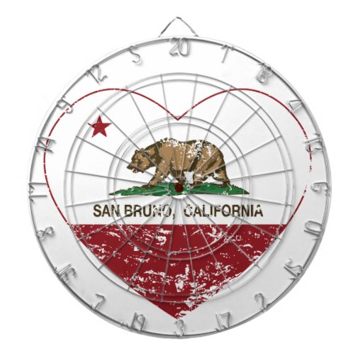 corazón del san Bruno de la bandera de California  Tablero De Dardos