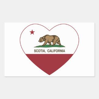 corazón del scotia de la bandera de California Pegatina Rectangular