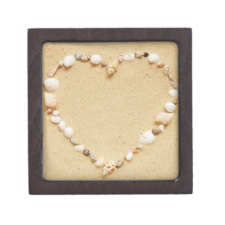 Corazón del Seashell Caja De Recuerdo De Calidad