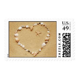 Corazón del Seashell con franqueo de las estrellas Timbre Postal