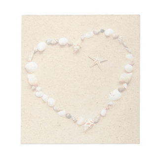 Corazón del Seashell con las estrellas de mar Bloc De Papel