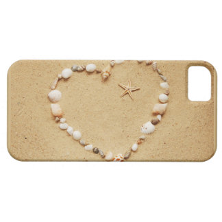 Corazón del Seashell con las estrellas de mar iPhone 5 Carcasa