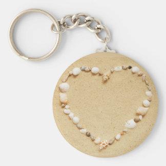 Corazón del Seashell Llavero Redondo Tipo Pin