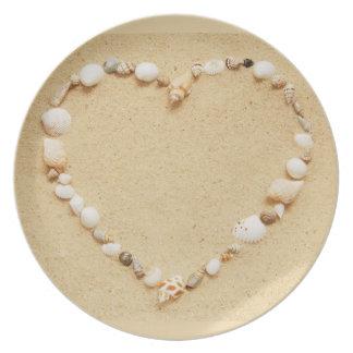 Corazón del Seashell Platos