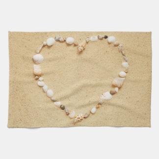 Corazón del Seashell Toalla