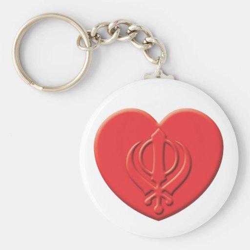 Corazón del Sikhism Llavero Redondo Tipo Pin