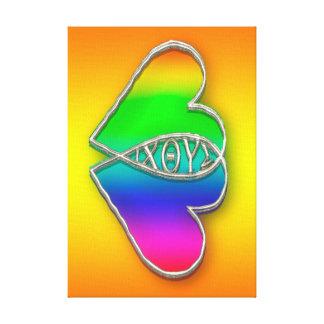 Corazón del símbolo de los pescados de IXOYE Impresiones De Lienzo