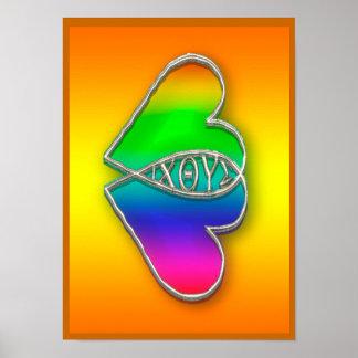 Corazón del símbolo de los pescados de IXOYE Póster