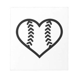 Corazón del softball bloc de notas