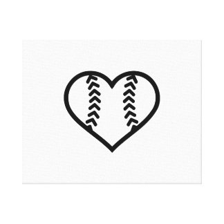 Corazón del softball impresión en lienzo