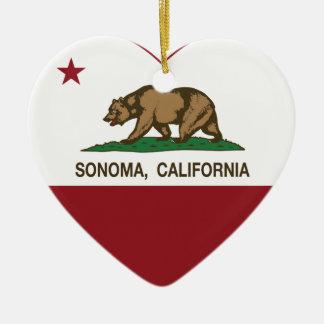 corazón del sonoma de la bandera de California Adorno Navideño De Cerámica En Forma De Corazón