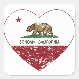 corazón del sonoma de la bandera de California Pegatina Cuadrada
