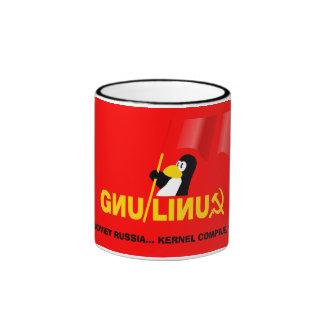 Corazón del soviet de Linux Taza De Dos Colores