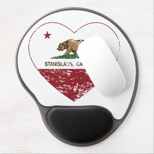 corazón del stanislaus de la bandera de California Alfombrilla De Ratón Con Gel