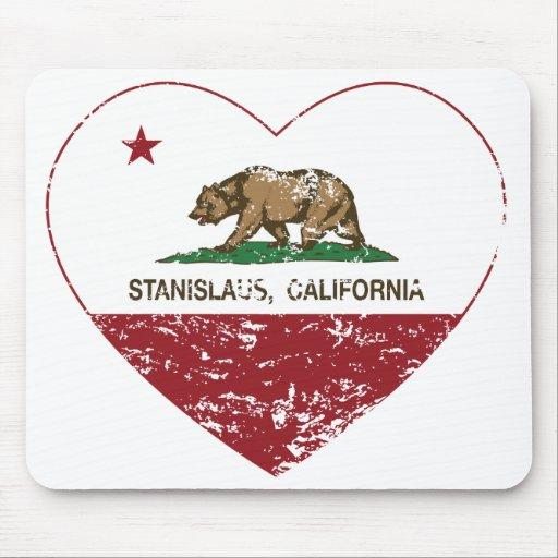 corazón del stanislaus de la bandera de California Alfombrillas De Ratón
