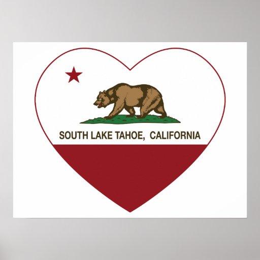 corazón del sur del lago Tahoe de la bandera de Ca Póster