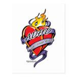 Corazón del tatuaje de ADHD Tarjeta Postal