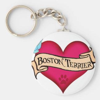 Corazón del tatuaje de Boston Terrier Llaveros