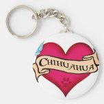 Corazón del tatuaje de la chihuahua llaveros personalizados