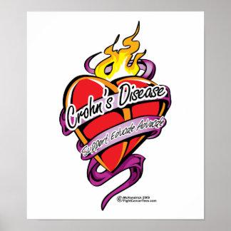 Corazón del tatuaje de la enfermedad de Crohn Posters