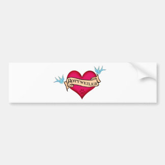 Corazón del tatuaje de Rottweiler Etiqueta De Parachoque